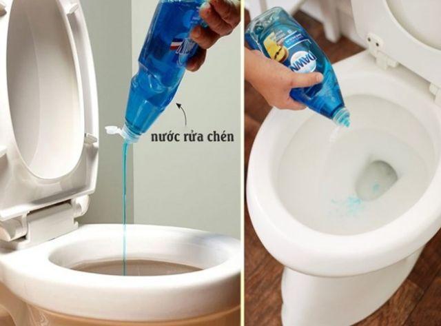Thông cống tắc bằng nước rửa chén